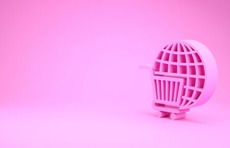 Pink Shopping cart with globe icon isolated on pink background. Online buying concept. Global market concept. Supermarket basket symbol. Minimalism concept. 3d illustration 3D render