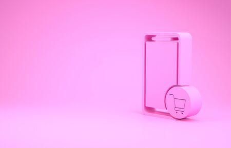 Pink Mobile phone and shopping cart icon isolated on pink background. Online buying symbol. Supermarket basket symbol. Minimalism concept. 3d illustration 3D render