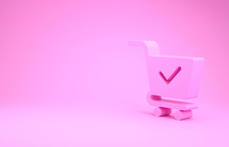 Pink Shopping cart with check mark icon isolated on pink background. Supermarket basket with approved, confirm, done, tick, completed symbol. Minimalism concept. 3d illustration 3D render