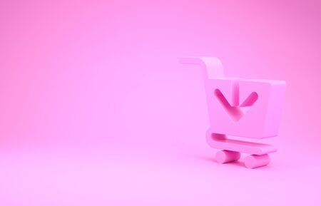 Pink Add to Shopping cart icon isolated on pink background. Online buying concept. Delivery service sign. Supermarket basket symbol. Minimalism concept. 3d illustration 3D render