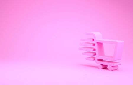Pink Shopping cart icon isolated on pink background. Online buying concept. Delivery service sign. Supermarket basket symbol. Minimalism concept. 3d illustration 3D render