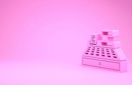 Pink Cash register machine with a check icon isolated on pink background. Cashier sign. Cashbox symbol. Minimalism concept. 3d illustration 3D render Banco de Imagens