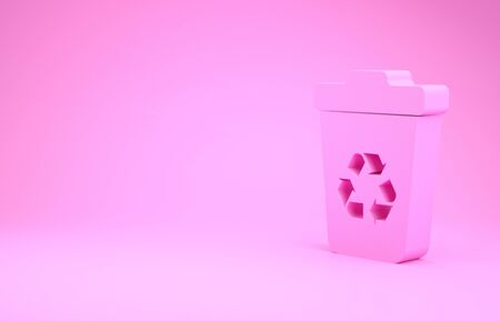 Pink Recycle bin with recycle symbol icon isolated on pink background. Trash can icon. Garbage bin sign. Recycle basket sign. Minimalism concept. 3d illustration 3D render 스톡 콘텐츠