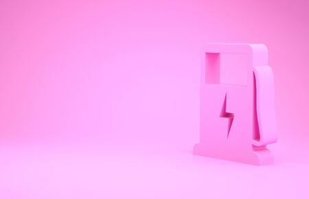 Pink Electric car charging station icon isolated on pink background. Eco electric fuel pump sign. Minimalism concept. 3d illustration 3D render