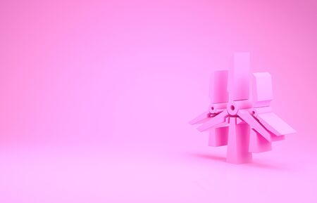 Pink Wind turbines icon isolated on pink background. Wind generator sign. Windmill silhouette. Windmills for electric power production. Minimalism concept. 3d illustration 3D render