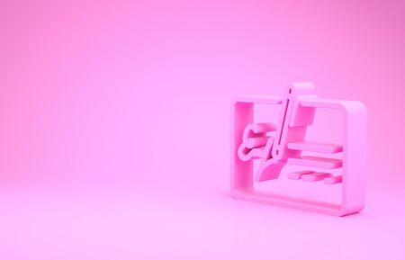 Pink Signed document line icon isolated on pink background. Pen signing a contract with signature. Edit document sign. Minimalism concept. 3d illustration 3D render