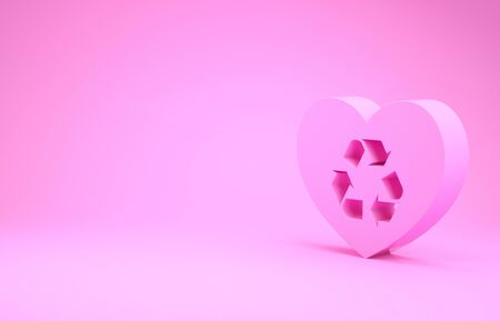 Pink Eco friendly heart icon isolated on pink background. Heart eco recycle nature bio. Environmental concept. Minimalism concept. 3d illustration 3D render