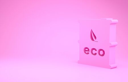 Pink Bio fuel barrel icon isolated on pink background. Eco bio and canister. Green environment and recycle. Minimalism concept. 3d illustration 3D render