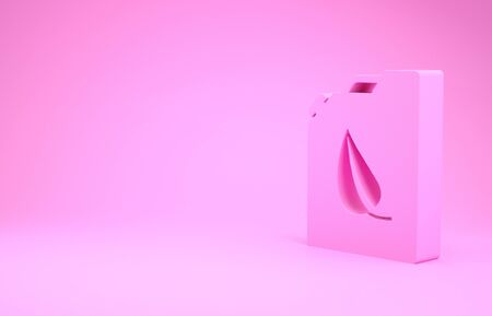 Pink Bio fuel canister icon isolated on pink background. Eco bio and barrel. Green environment and recycle. Minimalism concept. 3d illustration 3D render