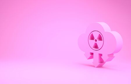 Pink Acid rain and radioactive cloud icon isolated on pink background. Effects of toxic air pollution on the environment. Minimalism concept. 3d illustration 3D render