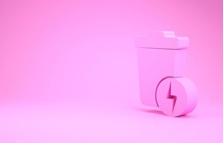 Pink Lightning with trash can icon isolated on pink background. Waste to energy. Garbage bin sign. Recycle basket sign. Minimalism concept. 3d illustration 3D render