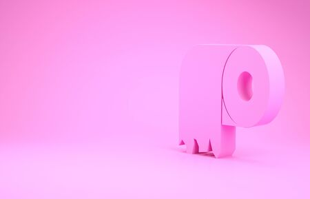Pink Toilet paper roll icon isolated on pink background. Minimalism concept. 3d illustration 3D render Stock Photo