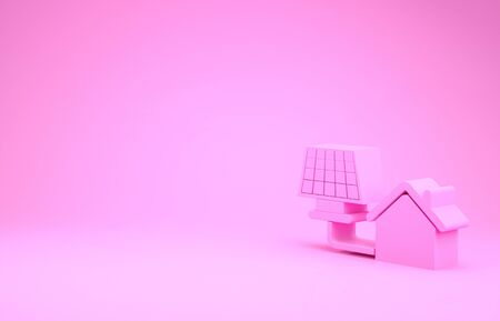 Pink House with solar panel icon isolated on pink background. Ecology, solar renewable energy. Eco-friendly house. Environmental Protection. Minimalism concept. 3d illustration 3D render