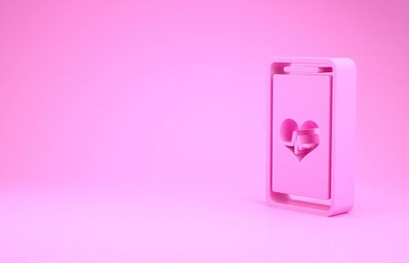 Pink Smartphone with heart rate monitor function icon isolated on pink background. Minimalism concept. 3d illustration 3D render Banco de Imagens
