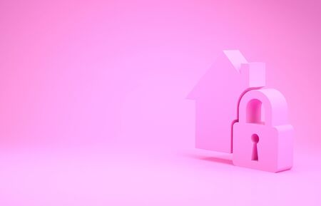 Pink House under protection icon isolated on pink background. Home and lock. Protection, safety, security, protect, defense concept. Minimalism concept. 3d illustration 3D render Stock Illustration - 132104382