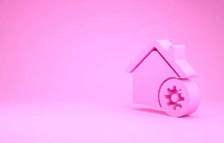 Pink Smart home settings icon isolated on pink background. Remote control. Minimalism concept. 3d illustration 3D render Фото со стока - 132104385