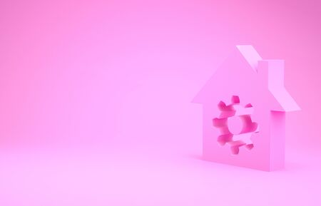 Pink Smart home settings icon isolated on pink background. Remote control. Minimalism concept. 3d illustration 3D render