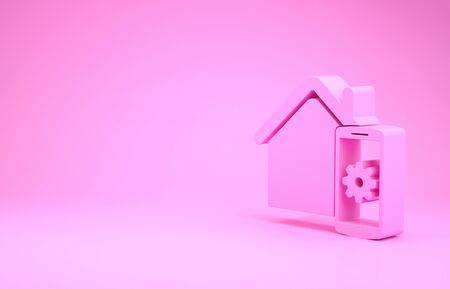 Pink Smart home - remote control system icon isolated on pink background. Minimalism concept. 3d illustration 3D render
