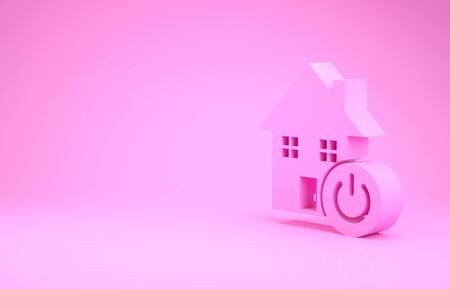 Pink Smart home icon isolated on pink background. Remote control. Minimalism concept. 3d illustration 3D render Banco de Imagens