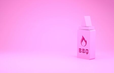 Pink Ketchup bottle icon isolated on pink background. Fire flame icon. Barbecue and BBQ grill symbol. Minimalism concept. 3d illustration 3D render