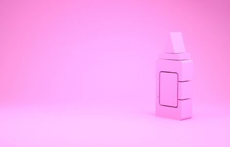 Pink Mustard bottle icon isolated on pink background. Minimalism concept. 3d illustration 3D render