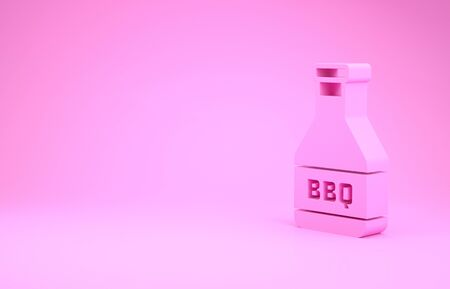 Pink Ketchup bottle icon isolated on pink background. Barbecue and BBQ grill symbol. Minimalism concept. 3d illustration 3D render 版權商用圖片 - 131992199