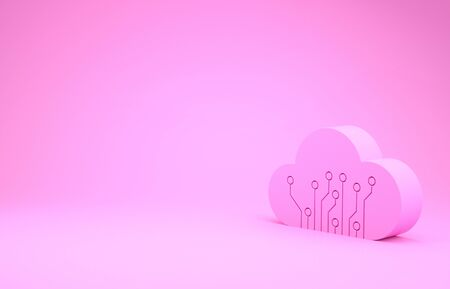 Pink Internet of things icon isolated on pink background. Cloud computing design concept. Digital network connection. Minimalism concept. 3d illustration 3D render