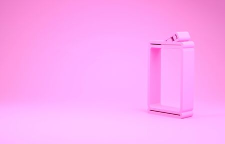 Pink Aluminum can icon isolated on pink background. Minimalism concept. 3d illustration 3D render Imagens