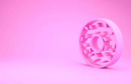 Pink Donut with sweet glaze icon isolated on pink background. Minimalism concept. 3d illustration 3D render 写真素材 - 131993398