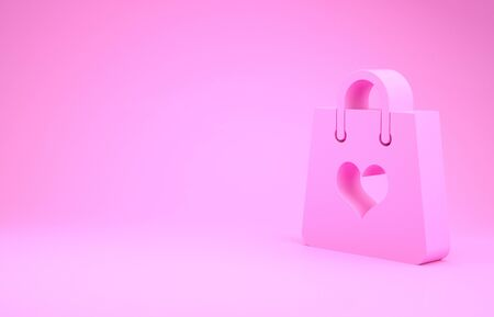 Pink Shopping bag with heart icon isolated on pink background. Shopping bag shop love like heart icon. Valentines day symbol. Minimalism concept. 3d illustration 3D render
