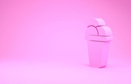 Pink Ice cream icon isolated on pink background. Sweet symbol. Minimalism concept. 3d illustration 3D render