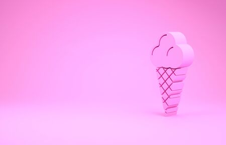 Pink Ice cream in waffle cone icon isolated on pink background. Sweet symbol. Minimalism concept. 3d illustration 3D render Banco de Imagens