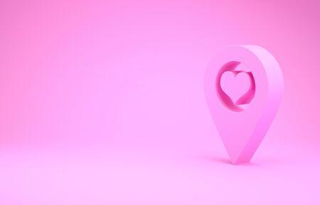 Pink Map pointer with heart icon isolated on pink background. Minimalism concept. 3d illustration 3D render Stockfoto