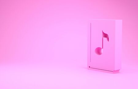 Pink Audio book icon isolated on pink background. Musical note with book. Audio guide sign. Online learning concept. Minimalism concept. 3d illustration 3D render