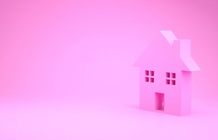 Pink House icon isolated on pink background. Home symbol. Minimalism concept. 3d illustration 3D render 写真素材