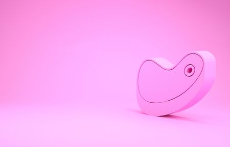 Pink Steak meat icon isolated on pink background. Minimalism concept. 3d illustration 3D render