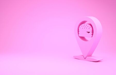 Pink Map pointer with fast food burger icon isolated on pink background. Minimalism concept. 3d illustration 3D render