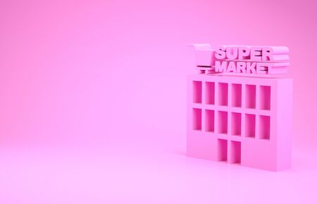 Pink Supermarket building with shopping cart icon isolated on pink background. Shop or store. Mall building. Minimalism concept. 3d illustration 3D render