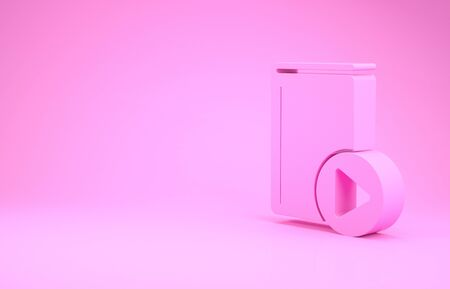 Pink Audio book icon isolated on pink background. Play button and book. Audio guide sign. Online learning concept. Minimalism concept. 3d illustration 3D render Stok Fotoğraf