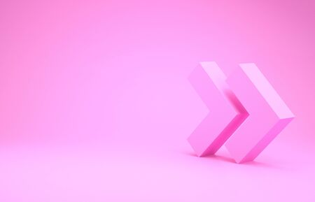 Pink Arrow icon isolated on pink background. Direction Arrowhead symbol. Navigation pointer sign. Minimalism concept. 3d illustration 3D render