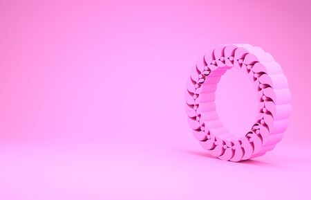 Pink Laurel wreath icon isolated on pink background. Triumph symbol. Minimalism concept. 3d illustration 3D render Фото со стока - 131993705