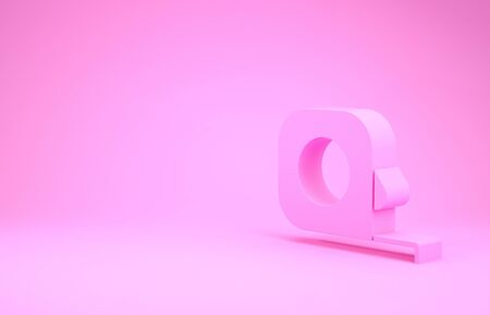 Pink Roulette construction icon isolated on pink background. Tape measure symbol. Minimalism concept. 3d illustration 3D render