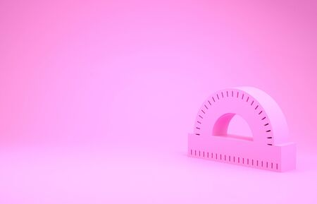 Pink Protractor grid for measuring degrees icon isolated on pink background. Tilt angle meter. Measuring tool. Geometric symbol. Minimalism concept. 3d illustration 3D render