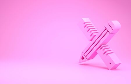 Pink Crossed ruler and pencil icon isolated on pink background. Straightedge symbol. Drawing and educational tools. Minimalism concept. 3d illustration 3D render
