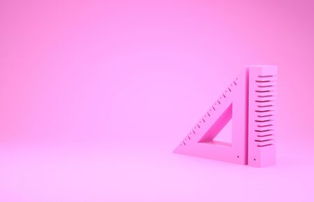 Pink Triangular ruler icon isolated on pink background. Straightedge symbol. Geometric symbol. Minimalism concept. 3d illustration 3D render