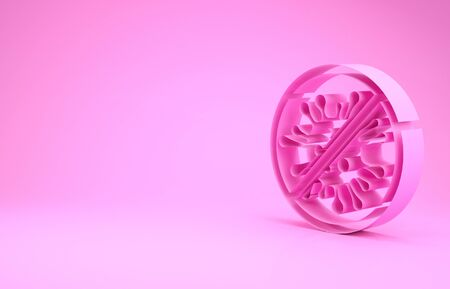 Pink Stop virus, bacteria, germs and microbe icon isolated on pink background. Antibacterial and antiviral defence, protection infection. Minimalism concept. 3d illustration 3D render