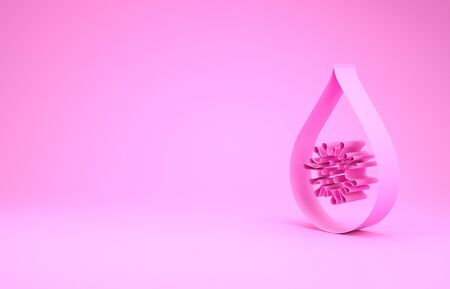 Pink Dirty water drop icon isolated on pink background. Bacteria and germs, microorganism disease, cell cancer, microbe, virus, fungi. Minimalism concept. 3d illustration 3D render 写真素材