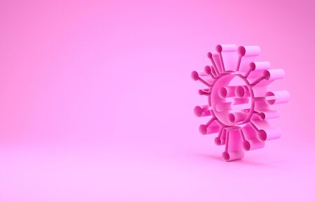 Pink Bacteria icon isolated on pink background. Bacteria and germs, microorganism disease causing, cell cancer, microbe, virus, fungi. Minimalism concept. 3d illustration 3D render 写真素材