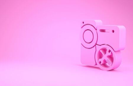 Pink Video camera with screwdriver and wrench icon isolated on pink background. Adjusting, service, setting, maintenance, repair, fixing. Minimalism concept. 3d illustration 3D render