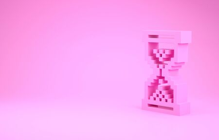 Pink Hourglass pixel with flowing sand icon isolated on pink background. Sand clock sign. Business and time management concept. Minimalism concept. 3d illustration 3D render